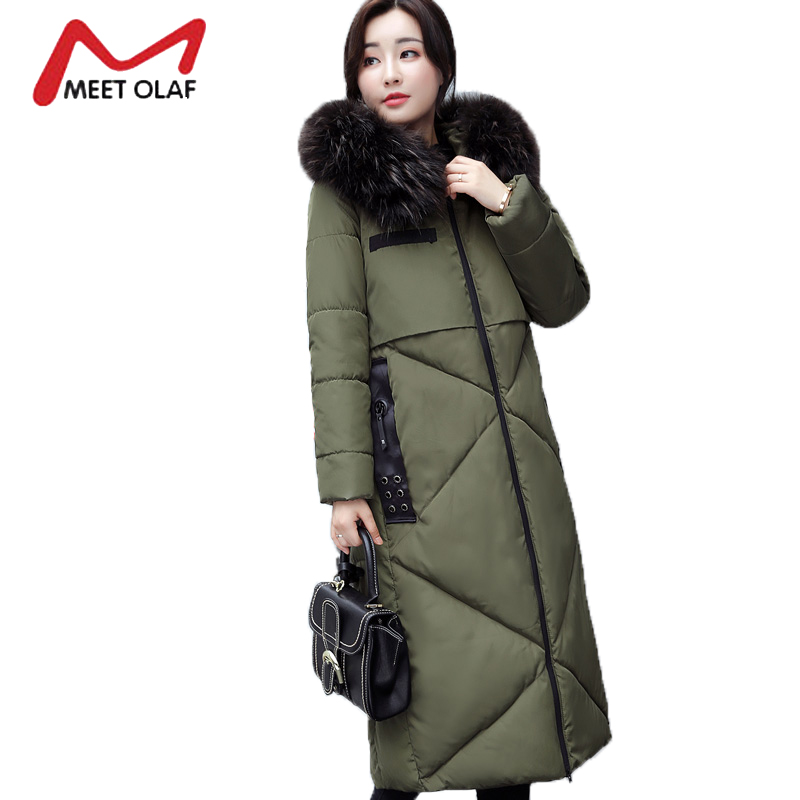 2017 Fur Hooded Women's Winter Down Jackets Female Long Winter Coats Long Parkas Wadded Outerwear chaquetas invierno mujer Y1739 2017 winter down jackets women winter coats female long hooded cotton padded parka wadded outwear chaquetas invierno mujer yl739