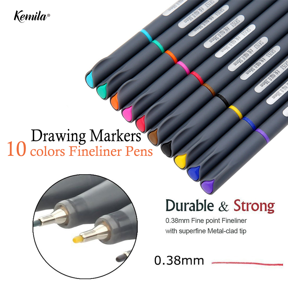 10 colors 0.38MM Fineliner Pen Fine Line Point Colored Writing Drawing Markers Pens Water Based Assorted Ink Sketch Marker touchnew 60 colors artist dual head sketch markers for manga marker school drawing marker pen design supplies 5type