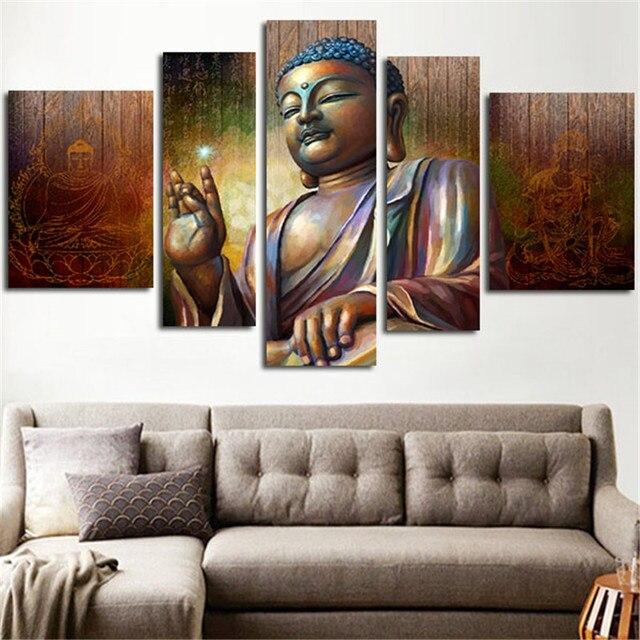 Unframed 5 Шт. Домашнее Украшение Стены Искусства Большой Размер HD Холст Картины Напечатаны Будды Модульная Картина Живопись Для Гостиной