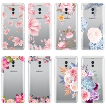 Rose Flower Pink Floral Soft Silicone Phone Case For Meizu M