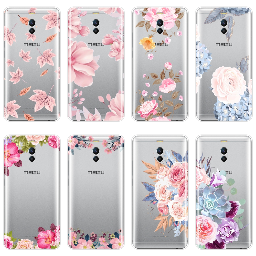 Rose Flower Pink Floral Soft Silicone Phone <font><b>Case</b></font> For <font><b>Meizu</b></font> M6 M5 M3 M2 Note Back Cover For <font><b>Meizu</b></font> M6 <font><b>M6S</b></font> M6T M5 M5C M5S M3 M3S M2 image