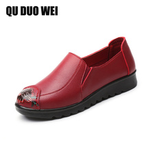 Spring Autumn Women Fashion Soft Leather Flats Slip On Handmade Moccasins Loafers Non-Slip Women's Casual Mother Work Shoes