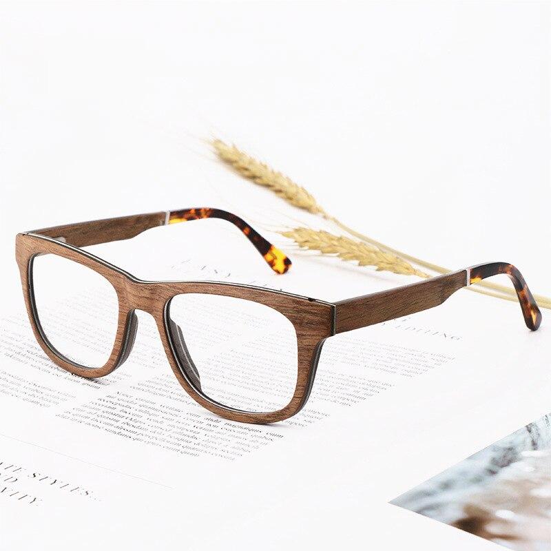 Cadre en verre optique en bois naturel hommes et femmes