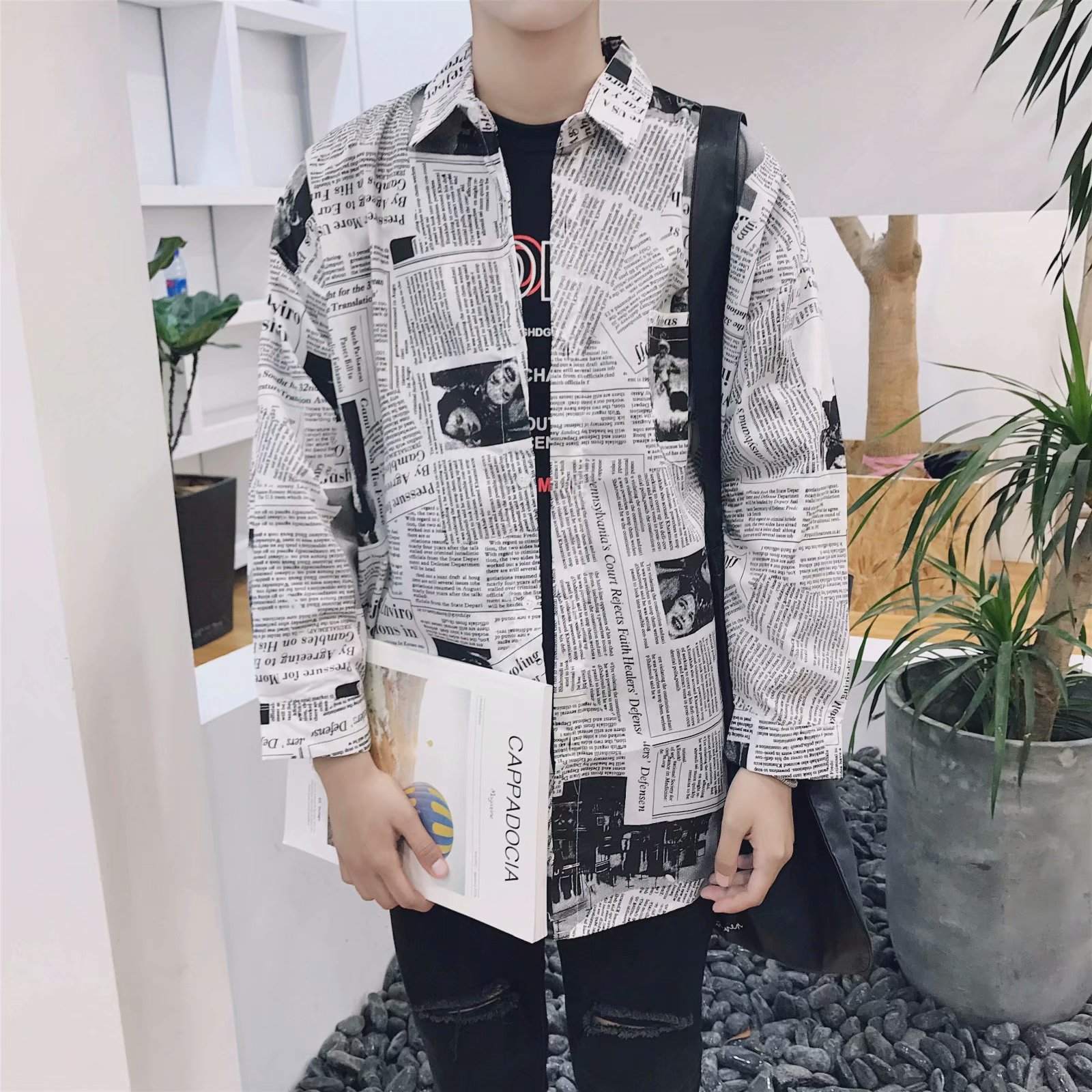 Heless Mens Knitted Long Sleeve Regular Fit Round Neck Casual Print Pullover Sweater