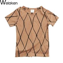 Summer Girls T-Shirt Rope Pattern Short Sleeve Children Top Tees 2016 Baby Costume Fashion Boys Clothing Kids t shirt