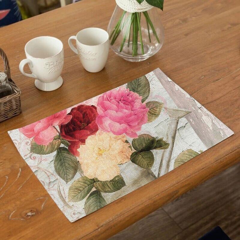 Soft Mat Flower Printing Dinner Table