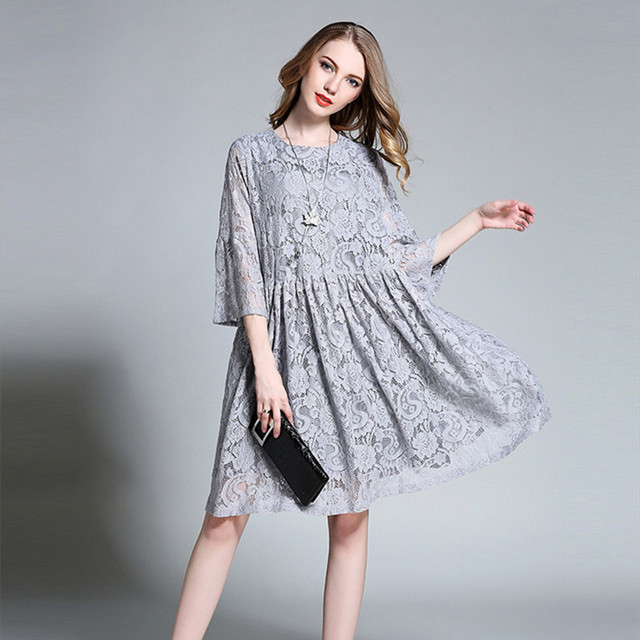 97c9580b65e Summer Lace Hollow Out Expectant Mother Dress Half Sleeve Casual Dresses  Pregnant Women Clothes Loose Maternity Dress