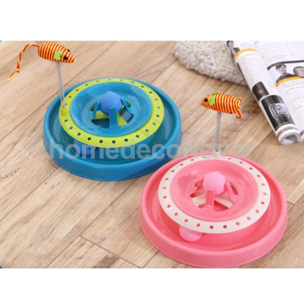 Round Funny Cat Toy Kitty Amusement Plate with Moving Spring Mouse Toys