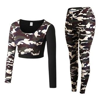 Femmes Sexy Camouflage Yoga chemises et pantalons femmes Gym Fitness course Compression Leggings collants survêtement femmes sport costume