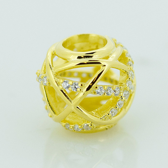 c6577ea48 Fits for Pandora Bracelets Galaxy Openwork Charms with 14K Gold Plated 100% 925  Sterling Silver