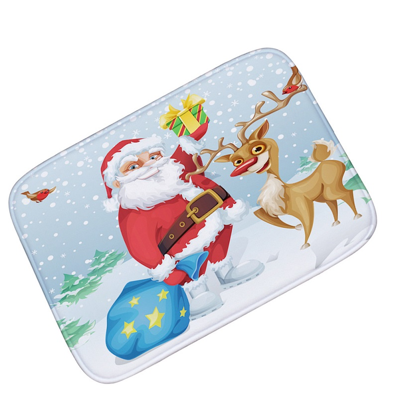 New Floor Mats Santa Claus Flannel Velvet Memory Foam Rugs and Carpets Non Slip Bath Mats Merry Christmas Gift Decoration Tapete