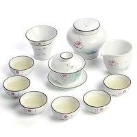 White ceramics Kung Fu tea set simple cover bowl tea cups full set of gift box Jingdezhen tea sets