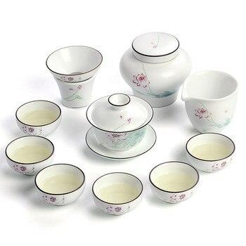 White ceramics Kung Fu tea set simple cover bowl tea cups full set of gift box Jingdezhen tea sets фото