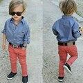 Новая Мода Детская Одежда 2016 Мальчиков Комплект Одежды Джинсовые Рубашки + Брюки Малышей Мальчики Одежда Для 2 ~ 8 Т детская Одежда Z383