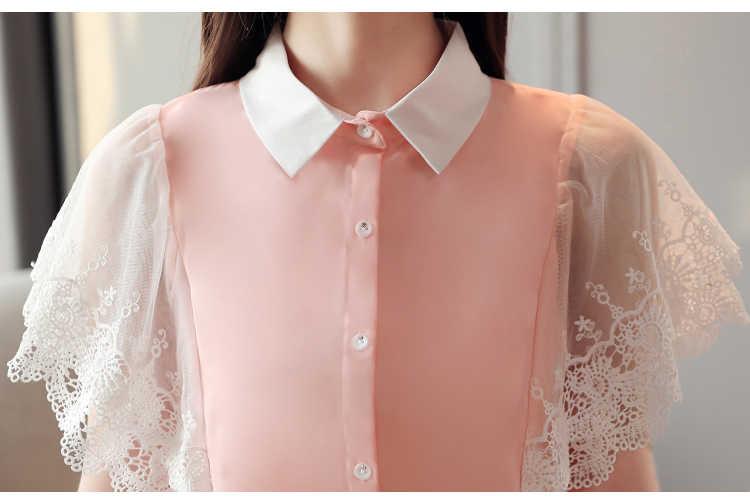 レースシャツファッション 2019 夏新婦人服シャツのレースの女性トップフリル半袖ピンクブルーシフォンシャツセクシーな 635H3