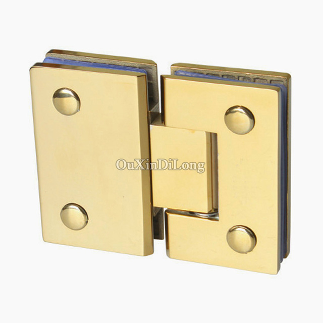 Hot 2pcs Stainless Steel Titanium Gold Frameless Shower Glass Door Hinges 180 Degree To
