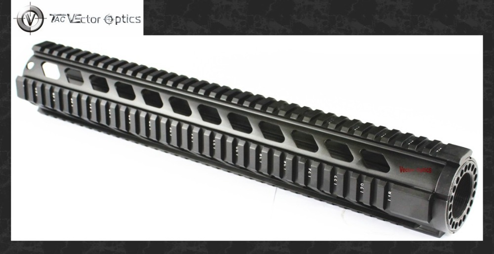 Vector Optics Tactical T-Series Free Float 15 Inch Tube Handguard Quad Picatinny Rails Mount System fit .223 AR15 M4 Rifle Guns funpowerland free shipping tactical t serie 4 15 free float 15 inch handguard quad rail scope mount