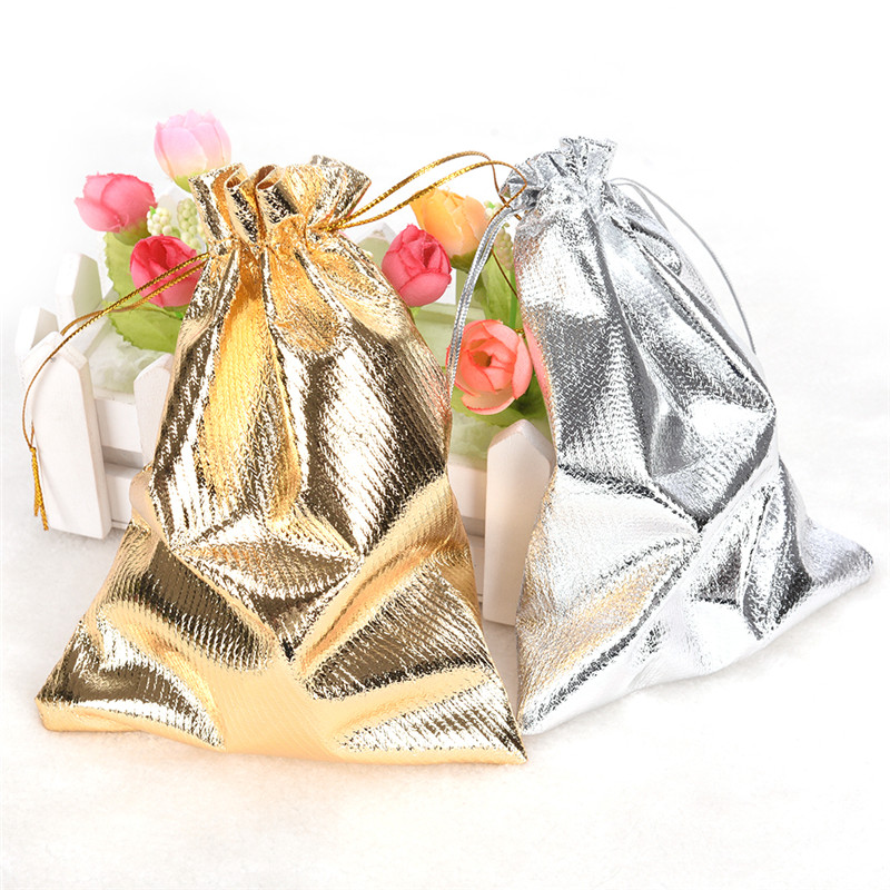 10pcs Adjustable Jewelry Packing Drawstring Velvet bag Drawable Organza Pouch Christmas Wedding Gift Jewelry Bag silver/gold