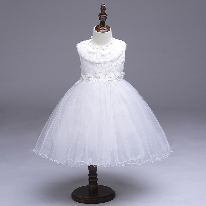 White   Flower     Girl     Dress   For Wedding with Ball Gown Style Little Princess Lace Bow   Flower     Girl     Dresses   2018