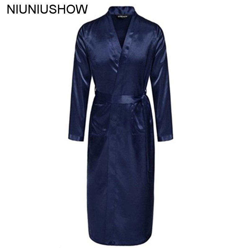 Navy Blue Chinese Men Silk Rayon Robe Summer Casual Sleepwear V-Neck Kimono Yukata Bath Gown Size S M L XL XXL(China)