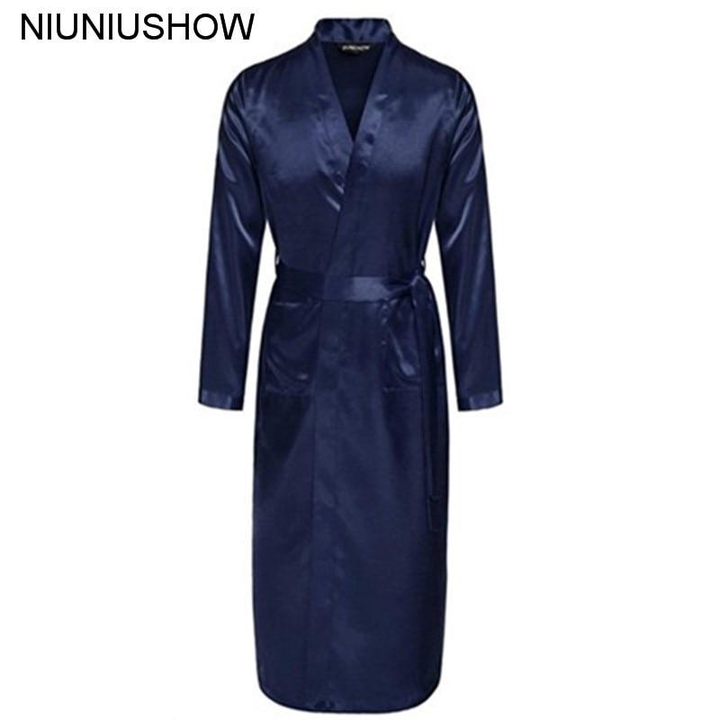 Navy Blue Chinese Men Silk Rayon Robe Summer Casual Sleepwear V-Neck Kimono Yukata Bath Gown Size S M L XL XXL