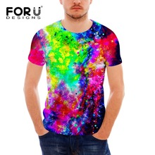 FORUDESIGNS 2017 Popular Mens T-shirt Casual t shirt Men Tees Tops Galaxy Space Star Printing high quality tee for men
