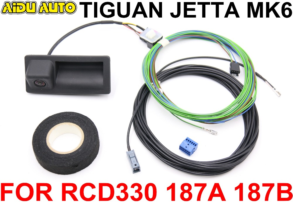 RCD330 RCD330 Plus 187A 187B MIB Radio Trunk Handle REAR VIEW CAMERA Low Camera KIT FOR VW JETTA MK6 TIGUAN in Vehicle Camera from Automobiles Motorcycles