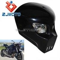 Universal Custom Fiber Glass FRP Street Fighter Motorcycle Headlight Fairing 12V StreetFighter Racing Skeleton Skull Headlight