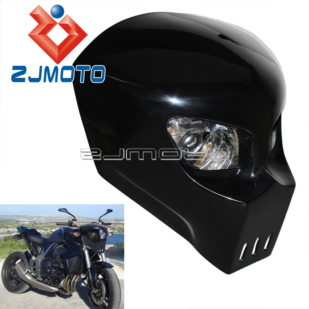 Universal Custom Motorcycle Headlight Fairing 12V Skeleton Skull Headlamp For Honda Yamaha Suzuki Triumph Streetfighter Custom