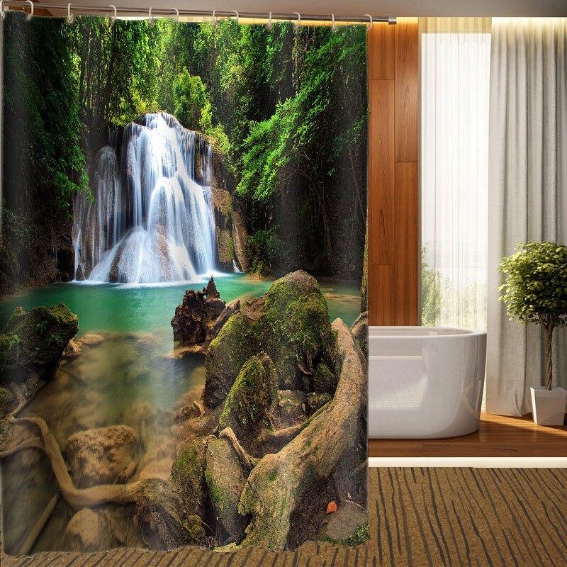 MYRU 3D de Impresión A Prueba de agua Cascada Cortinas De Ducha Productos de Bañ