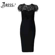 INDRESSME Women Bandage Dress Sexy Lace O Neck Short Sleeve Elegant Solid Knee Length Bodycon Spring Lady Party Dress Vestidos