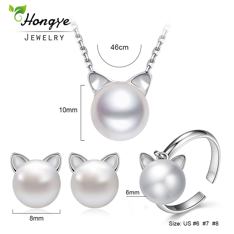Hongye Natural Pearl Necklace 925 Sterling Silver Earrings Rings Dla - Wykwintna biżuteria - Zdjęcie 5