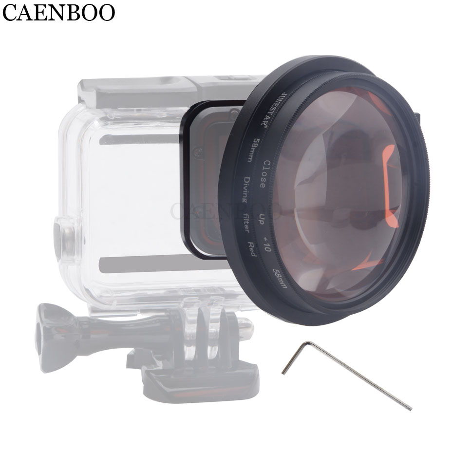 CAENBOO Action Camera Lens Filter Go Pro Hero 5 6 Close Up 10 Times Red For GoPro Hero5/6/2018 Housing Case Macro Black Diving