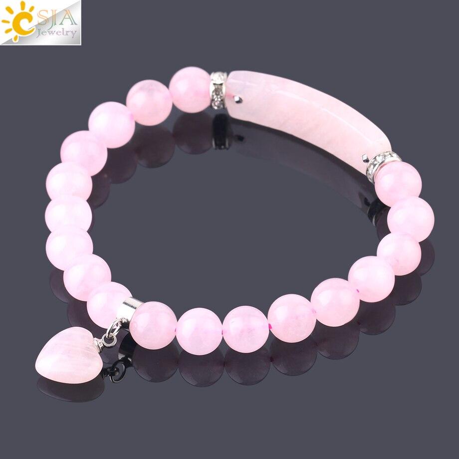 CSJA טבעי אבן ורוד קריסטל צמיד לנשים בנות אהבת לב צמידים & צמידי קוורץ חרוזים CZ קסמי תכשיטי מתנה f575