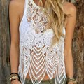 Sexy Women Summer Lace Vest Tops Sleeveless See-through Crochet Vest Tank Tops