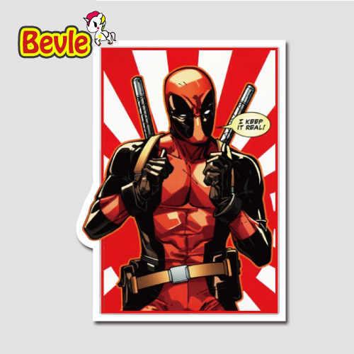 Bevle 9648 с героями комиксов Марвел, супер герой Дэдпул Водонепроницаемый масштабных дорожных чемоданов, Стикеры s Tide мультяшная куртка для возраста 3 м Стикеры модные граффити скейтборд