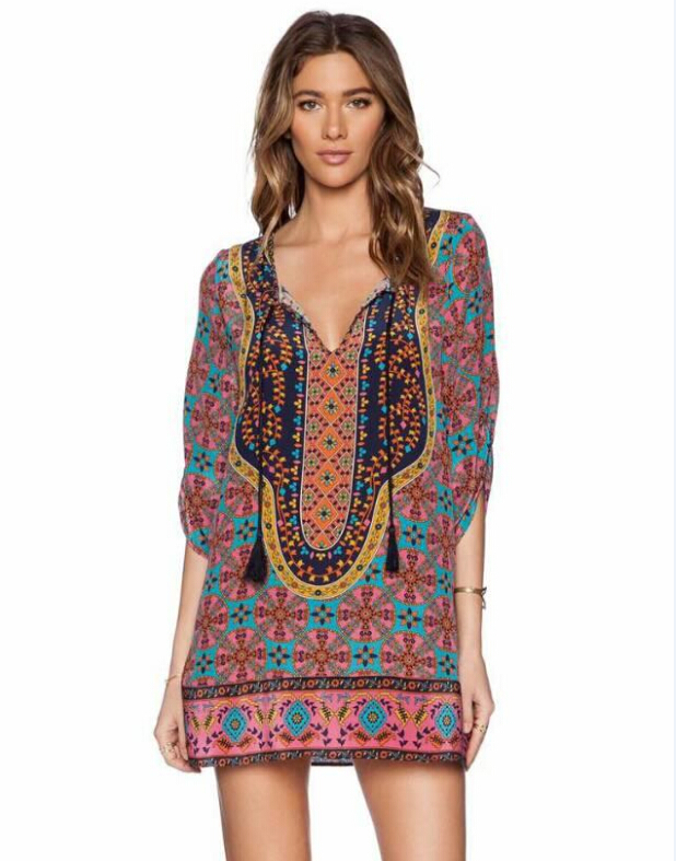 2015 women loose printed summer dress and Location ...