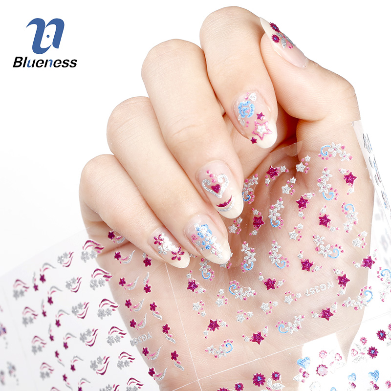 24 Pcs/Lot Beauty Colorful Different Design Glitter 3D Nail Stickers Diy Nail Art Decorations Tools For Manicure Nails JH166