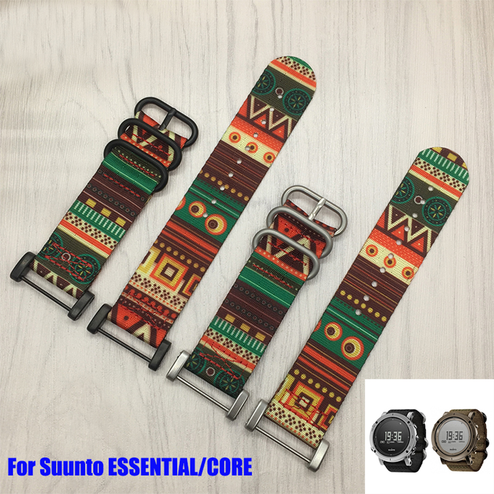 NEW arrivals nylon watchband For Suunto Core <font><b>Watch</b></font> <font><b>Strap</b></font> 24MM Black Soft <font><b>watch</b></font> <font><b>strap</b></font>+Stainless Buckle+<font><b>PVD</b></font> Adapters+Screwbars image