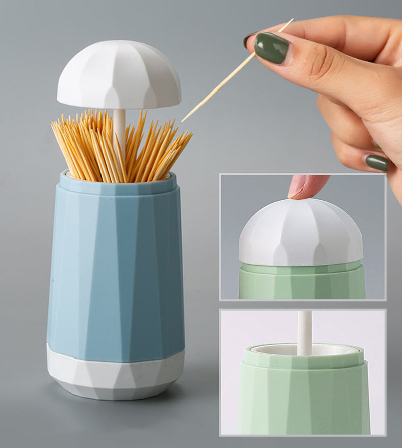Hand Press Type ABS Plastic Automatic Toothpick Holder Box Toothpick Dispenser Pop-up Toothpick Can Container for Home Office Cafe Restaurant Decoration