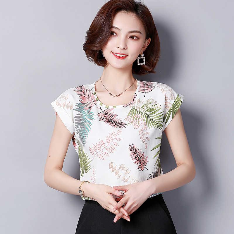 7c11b7e17879 2019 Большие размеры Летняя женская рубашка Блузки модные с коротким  рукавом ...