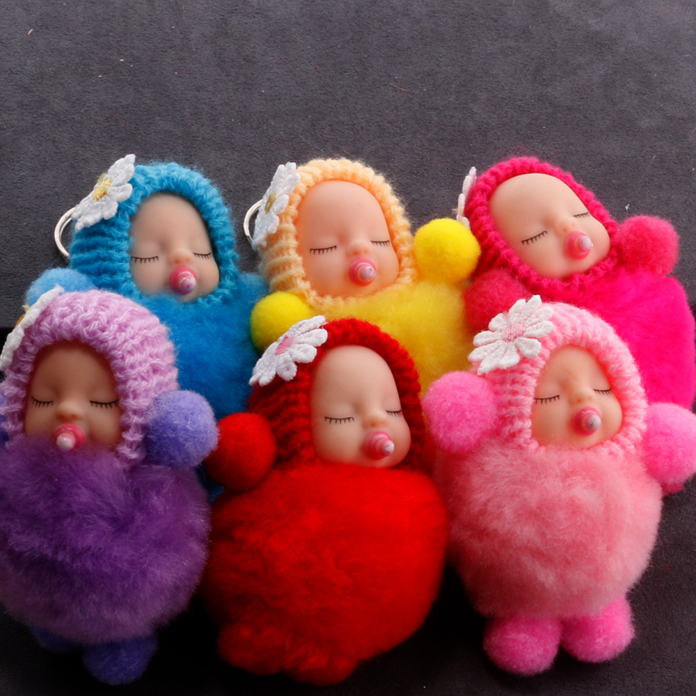Nipple Sleeping Baby Doll Keychain Flower Pompom Rabbit Fur Ball Key Chain Fluffy Car Keyring Porte Clef Bag Key Ring