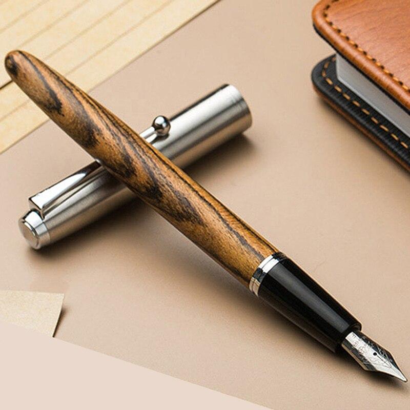 Madeira Jinhao Fountain Pen 0.38/0.5/0.8 milímetros Iridium Vulpen Escrita Pluma Paralelo Escritório Caneta Escola de Arte suprimentos Stylo