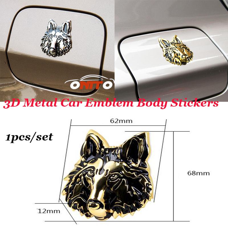 3D Metal For Wolf Head badge Car Emblem body Decals Side Tail Bonnet Stickers 1pcs/lot For jaguar Ford VW Volvo Audi and so on