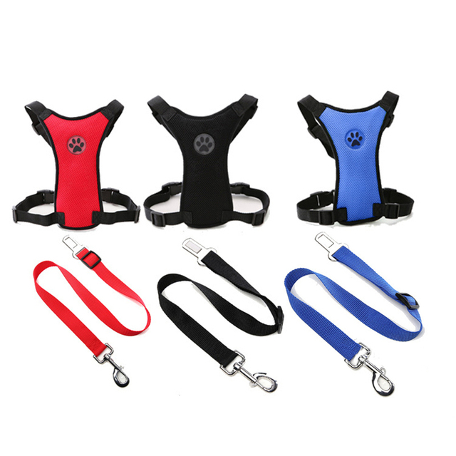 Breathable Adjustable Dog Harness With Car Seat Safety Belt