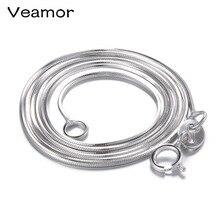 Простое классическое женское ожерелье цепочка ожерелье стерлингового серебра 925 ожерелье с застежкой-карабином цепочка для кулон оснастки ювелирные изделия