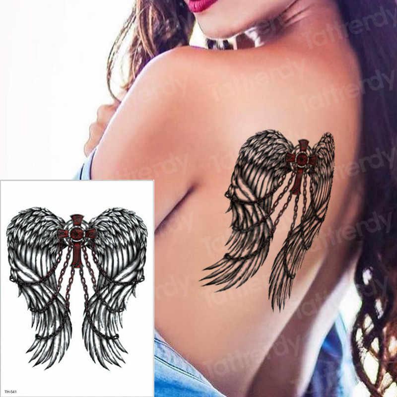 2c773786084f0 ... 3pcs/lot temporary tattoo mandala Black rose angel wings cross henna  tattoo sticker sexy girls ...