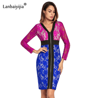 Lanbaiyijia Europe America Hot Style 2 Color Patchwork Front Zipper Slim Pack Hip Sexy Dress Women