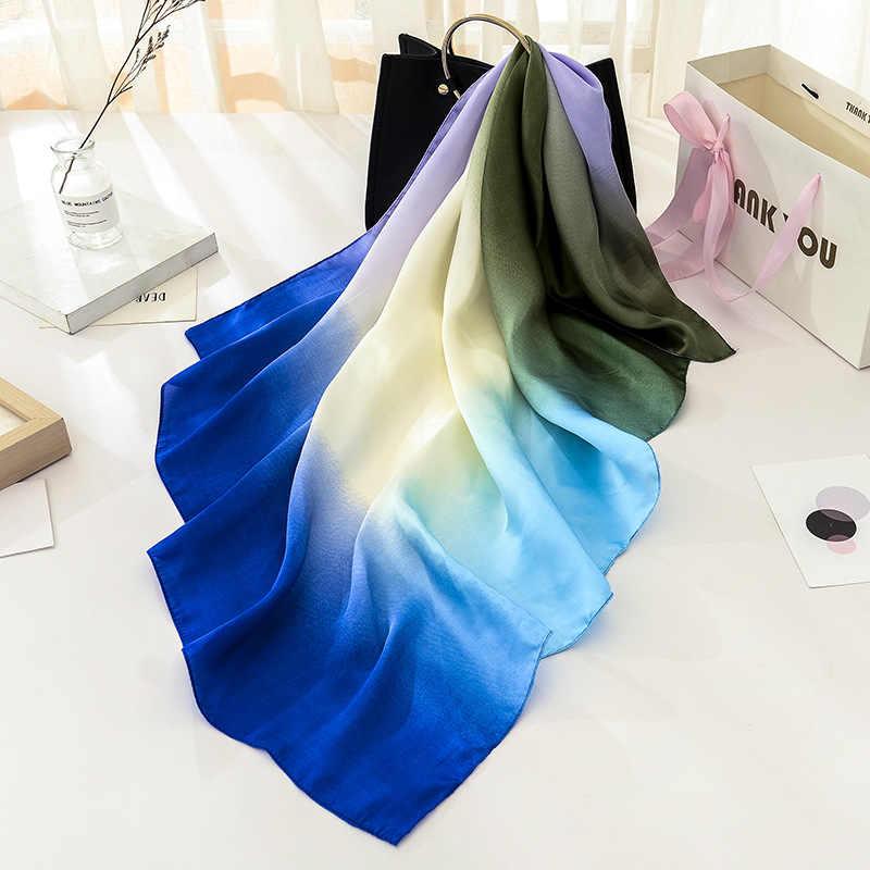 Peacesky Donne Sciarpa di Lusso di Marca Hijab 100% Sensazione di Seta Dello Scialle Della Sciarpa Blu Foulard Testa Quadrata Sciarpe Wraps 2017 NUOVO 90x90 centimetri