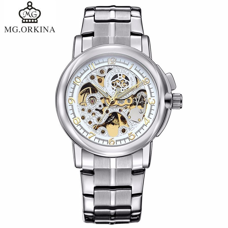 ФОТО MG.Orkina New Luxury Watch Men's Skeleton Dial Auto Mechanical Watches Wristwatch  Gift With Box Free Ship